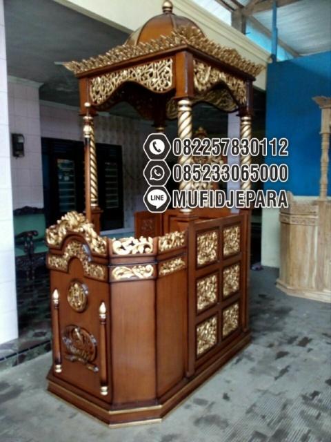 Mimbar Masjid Kayu Jati Klasik Jual Podium Mimbar