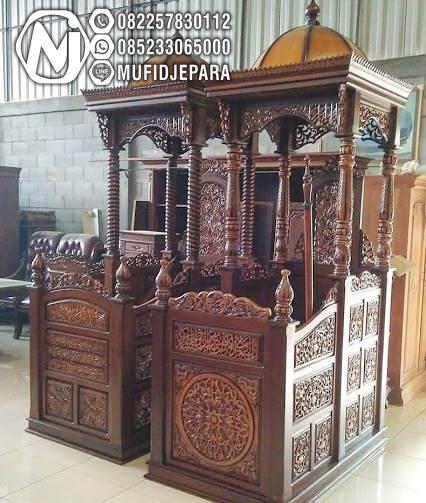 Model mimbar masjid jati minimalis bergaya arab motif ukir kubah khas Jepara, podium kaligrafi, mimbar sederhana untuk harga murah