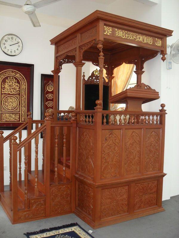 Desain Mimbar Ukiran Masjid Besar