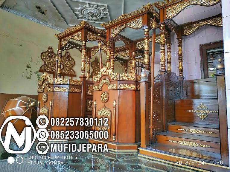 Model Mimbar Masjid Atap Kubah Ukiran Jati Jepara