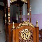 Podium Mimbar Masjid Ukiran Kaligrafi Atap Kubah Masjid Agung Mungkid
