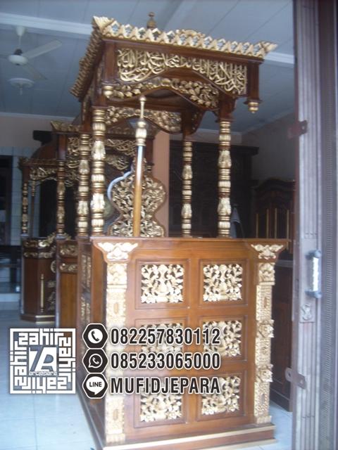 Jual Mimbar Masjid Modern Ukiran Gebyok Jati Jepara