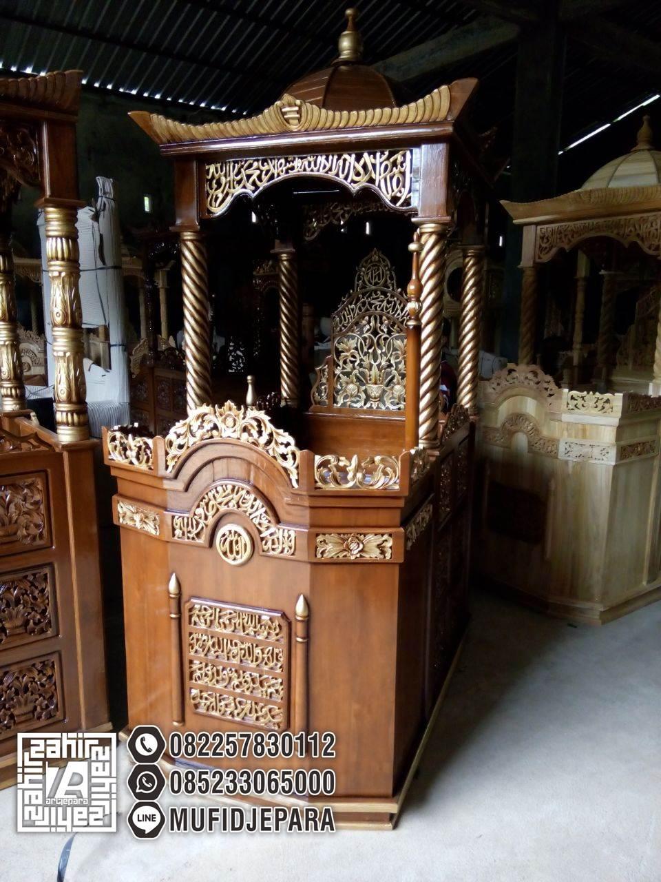 Mimbar Masjid Ukiran 2018 - Pengrajin Mimbar Ukiran - UkuranMimbar Masjid Umum -Mimbar Sederhana