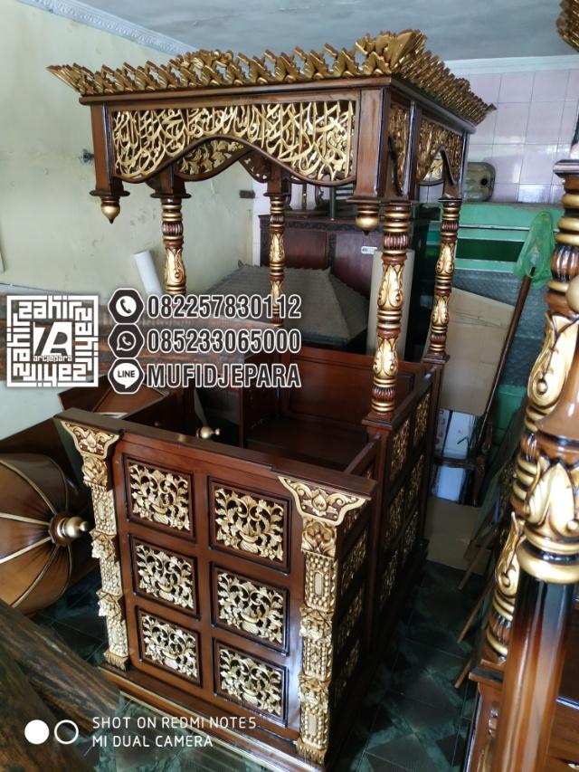 Bentuk Mimbar Kayu Podium Minimalis Masjid Di Bandung