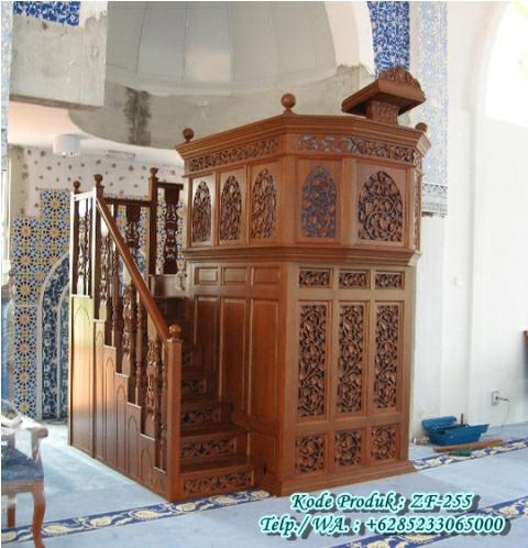 Bentuk Mimbar Kayu Podium Minimalis Masjid Di Tegal