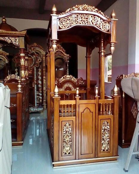 Galeri Mimbar Podium Masjid Ukir Jepara Ready Stock