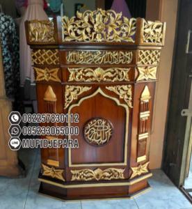 Podium Mimbar Ukiran Jepara Klasik Masjid Agung