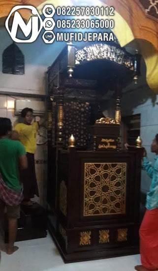 Model Mimbar Jati Minimalis Arabic Pesanan DKM Masjid Agung Banyumas