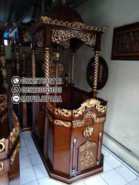 Model Mimbar Jati Ukir Mewah Pesanan Masjid Serang