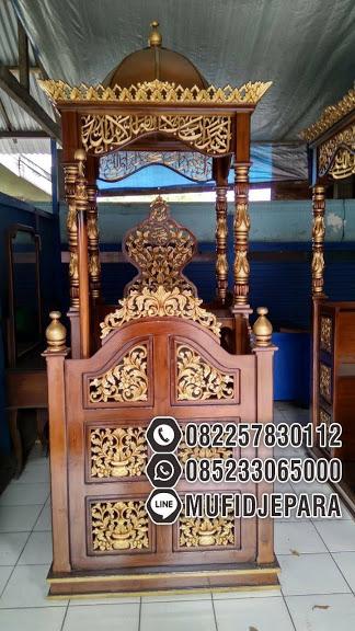 Harga Mimbar Jati Ukiran Arabic Pesanan Masjid Agung Cirebon