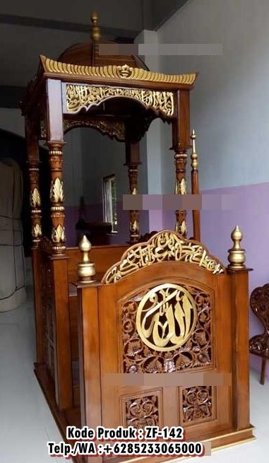 Harga Mimbar Kayu Ukir Klasik Jepara Pesanan DKM Masjid Agung Batang
