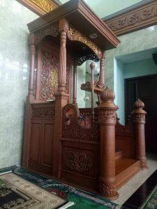 Mimbar Kubah Ukir Mewah Pesanan DKM Masjid Garut