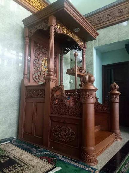 Harga Mimbar Kubah Ukir Mewah Pesanan DKM Masjid Garut