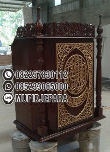 Podium Mimbar Ukiran Arabic Pesanan Masjid Agung Serang