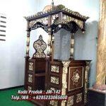 Mimbar Podium Khutbah Ukiran Kaligrafi Atap Kubah Masjid Agung Cilacap
