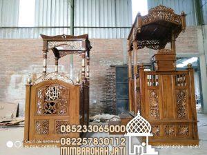 Mimbar Jati Ukiran Mewah Pesanan Masjid Agung Sukoharjo