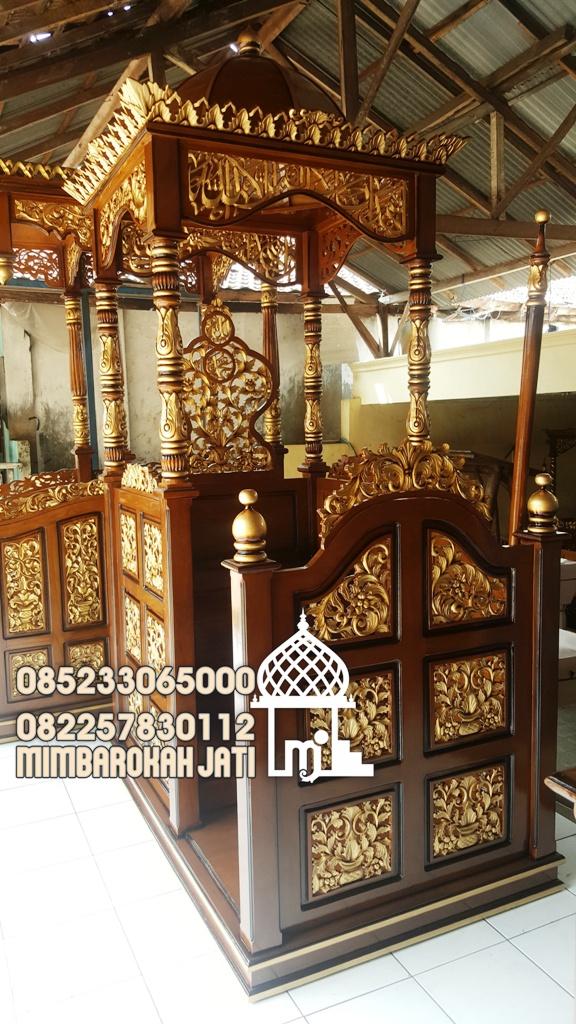 Jual Mimbar Jati Ukiran Kaligrafi Pesanan Masjid Agung Kulon Progo