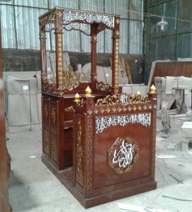 Mimbar Kayu Ukir Klasik Jepara Pesanan DKM Masjid Kepanjen
