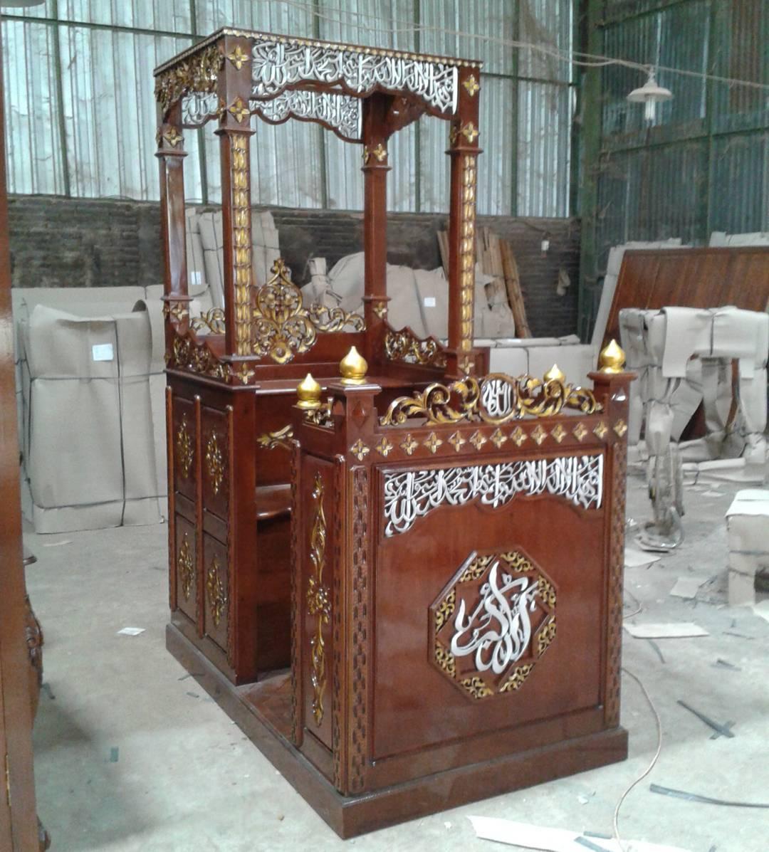 Mimbar Kayu Ukir DKM Masjid Kepanjen