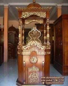 Mimbar Kubah Ukir Klasik Jepara Pesanan DKM Masjid Agung Lamongan
