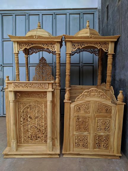 Motif Mimbar Kayu Standar Masjid Sederhana