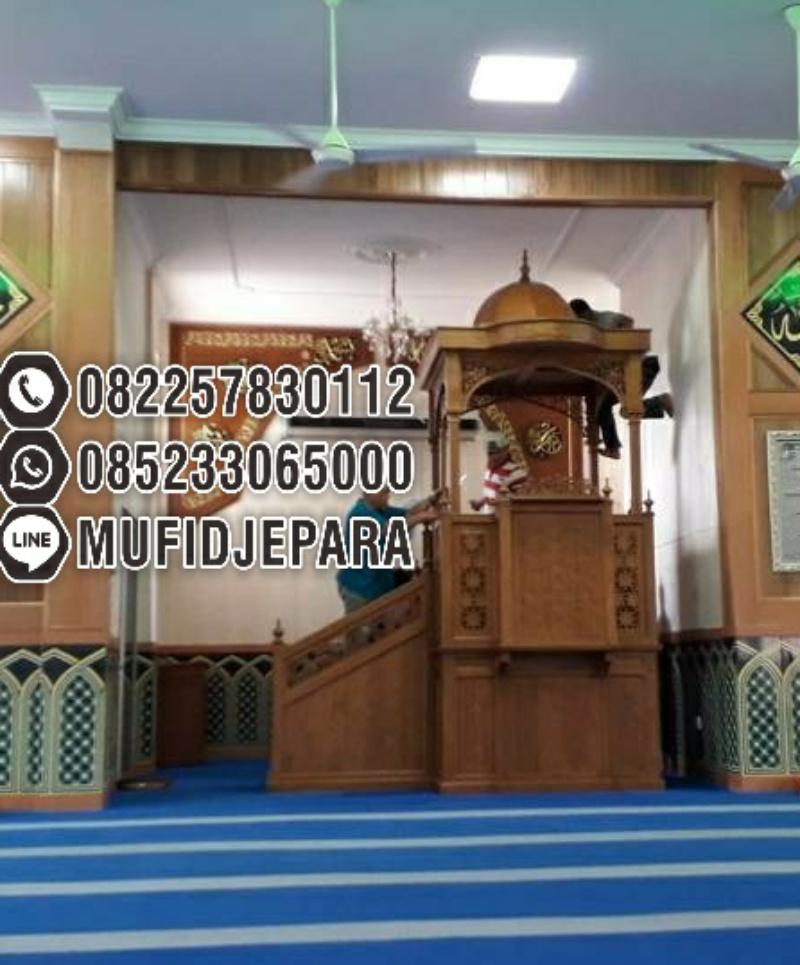 Mimbar Jati Minimalis Ukuran Masjid Besar