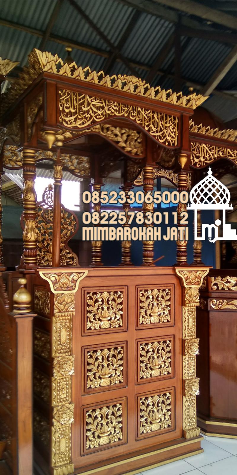 Mimbar Khutbah Masjid Ukuran Sederhan Klasik Kayu Jati