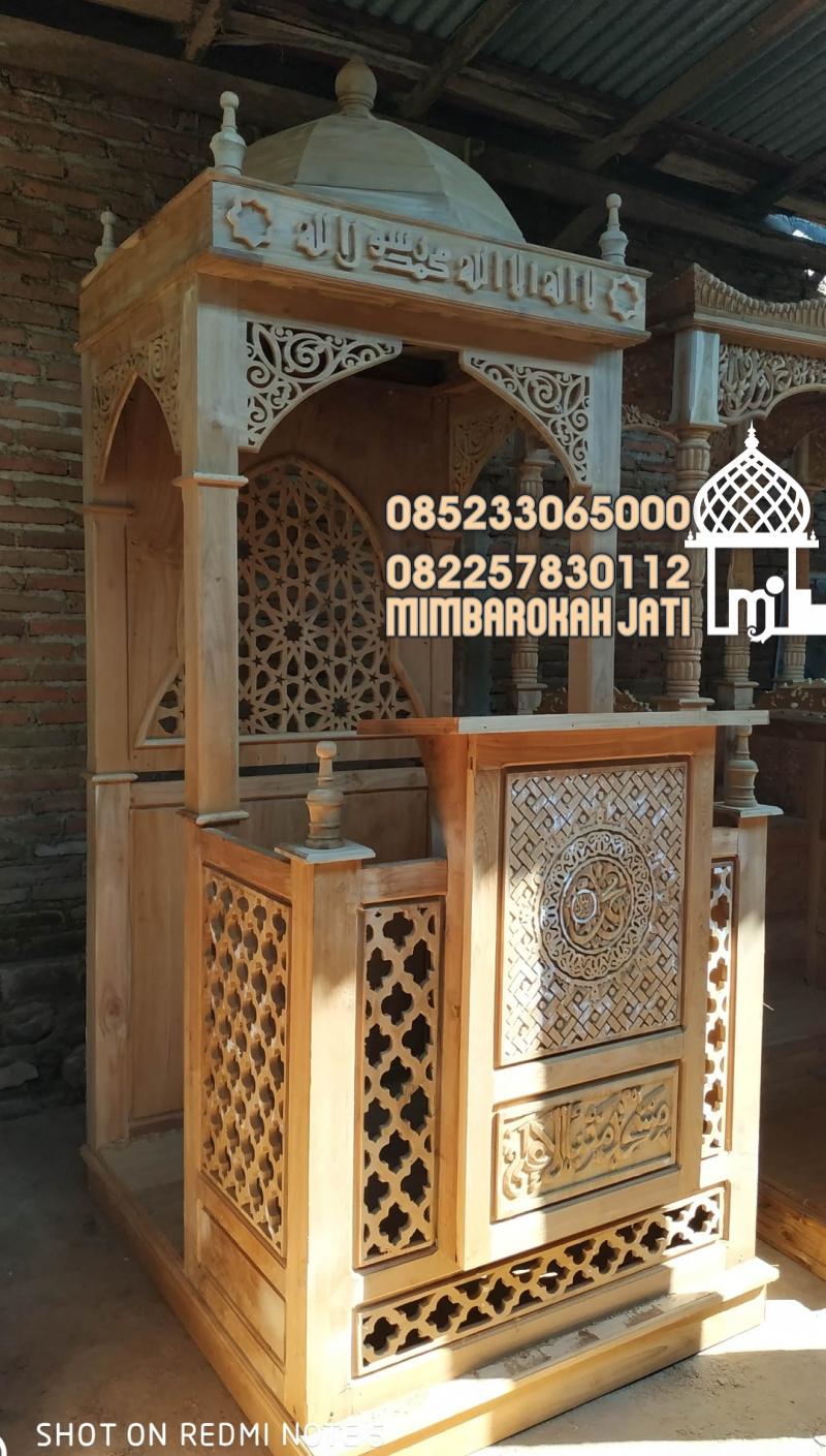 Mimbar Masjid Minimalis Ukuran Kecil Klasik Jati Jepara