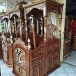 Mimbar Masjid Minimalis Ukuran Standar Atap Kubah Jati