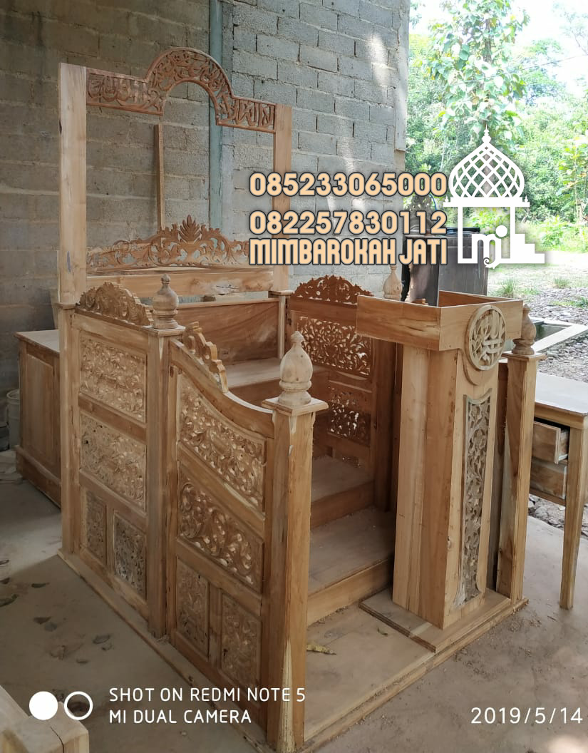 Podium Mimbar Khutbah Masjid Ukuran Kecil Klasik Jati