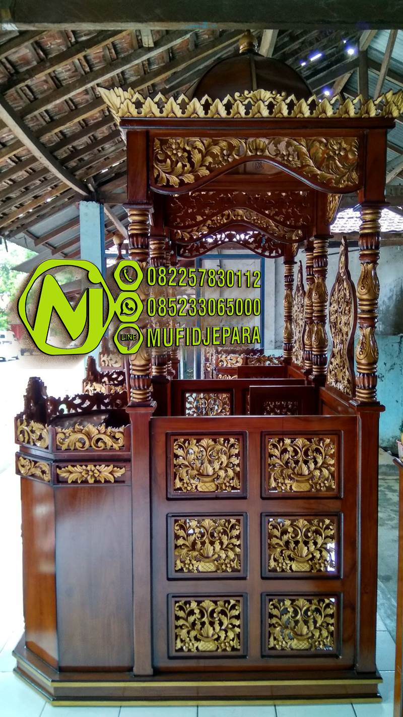 Podium Mimbar Khutbah Masjid Ukuran Standar Klasik Jati