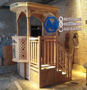 Mimbar Masjid Minimalis Ukuran Besar Atap Kubah Jati Jepara