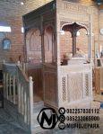 Mimbar Masjid Minimalis Ukuran Besar Atap Kubah Kayu Jati