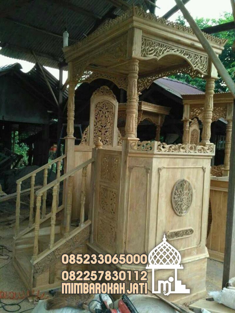 Podium Mimbar Masjid Minimalis Ukuran Besar Classic Kayu Jati