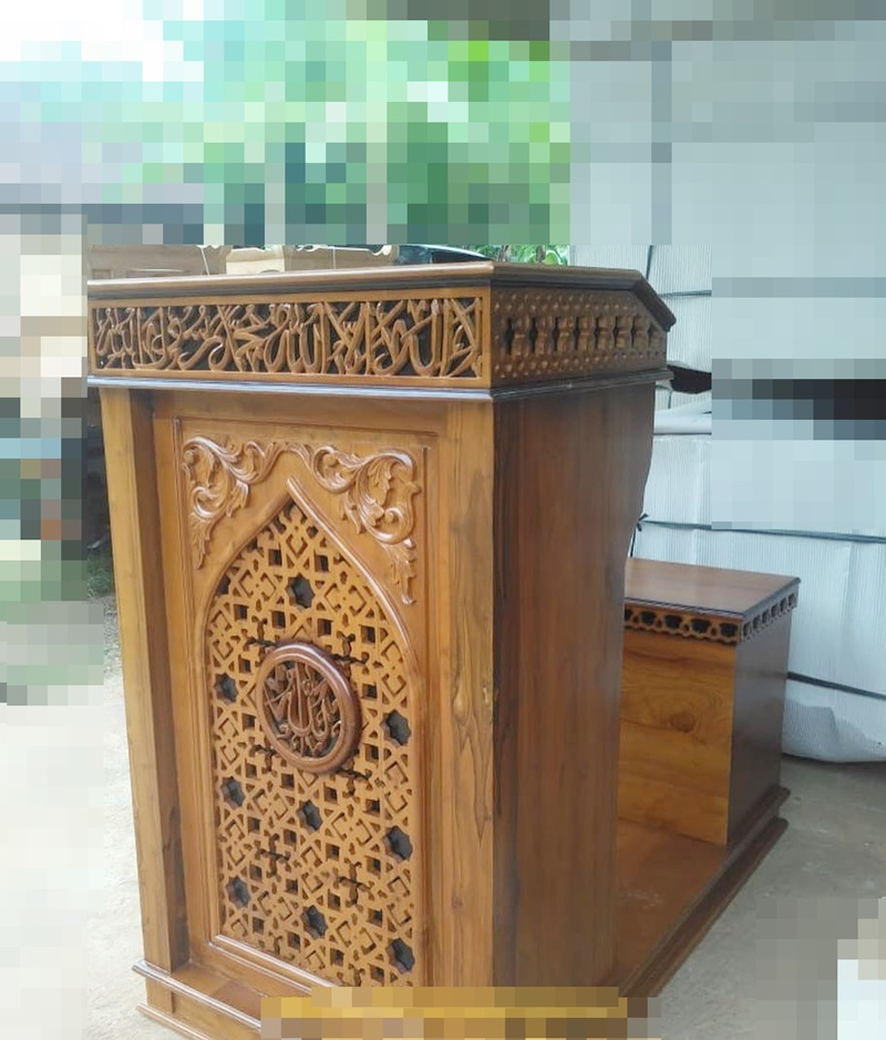 Mimbar Masjid Minimalis Ukuran Kecil Klasik Jati