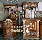 Mimbar Masjid Minimalis Ukuran Kecil Klasik Kayu Jati