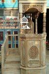 Mimbar Masjid Minimalis Ukuran Kecil Kuba Jati
