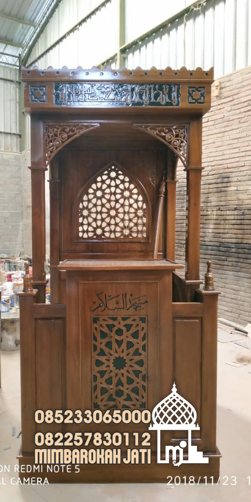 Podium Mimbar Masjid Minimalis Ukuran Standar Atap Kubah Kayu Jati