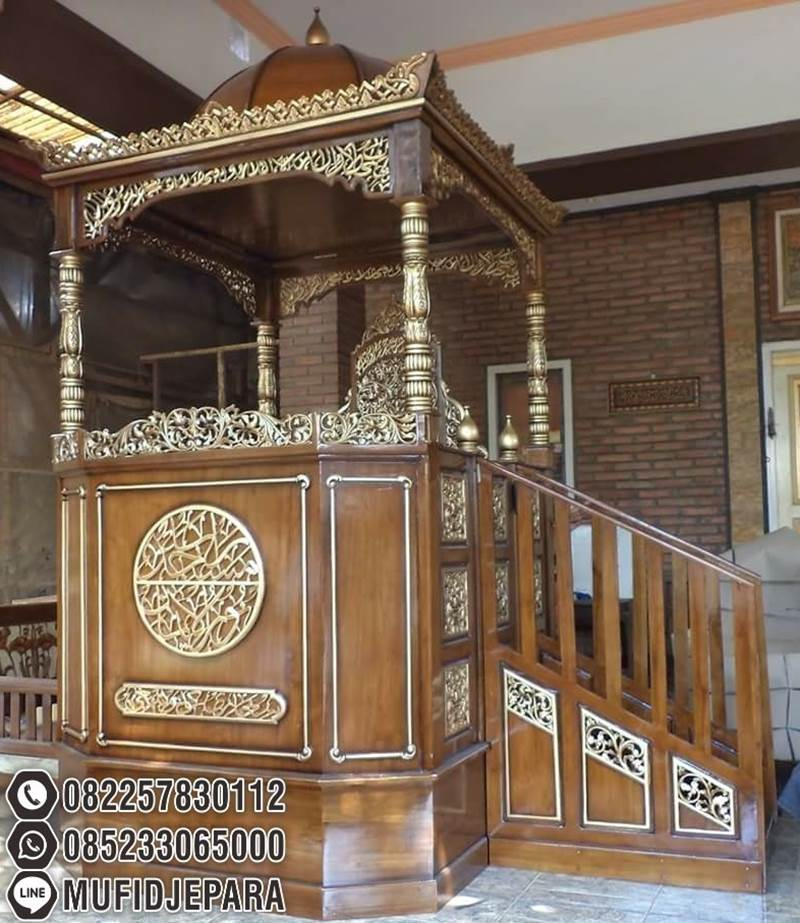 Mimbar Masjid Ukuran Besar Kuba Kayu Jati