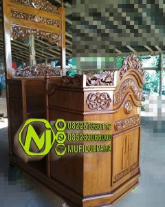 Mimbar Masjid Ukuran Kecil Klasik Kayu Jati