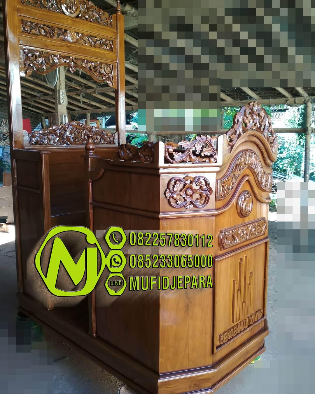 Mimbar Podium Masjid Ukuran Kecil Klasik Kayu Jati