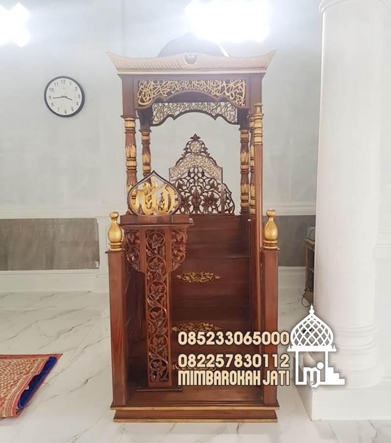 Mimbar Jati Masjid Nganjuk Atap Kubah Kayu Ukir Jepara